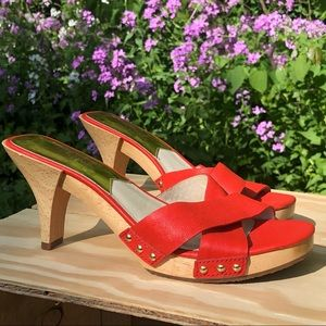 NEW Michael Kors Amelie Mule Mandarin Orange Heels